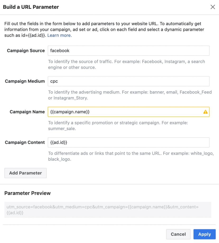 Facebook URL Parameter
