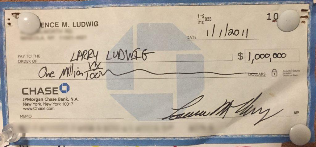 Check for $1 Million Dollars